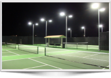 LED Light fixtures for outdoor tennis courts