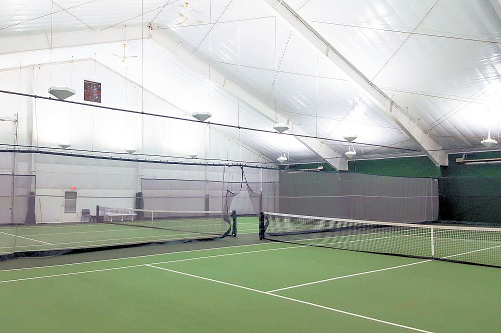 Strut mounted LED indirect tennis lighting by Brite Court