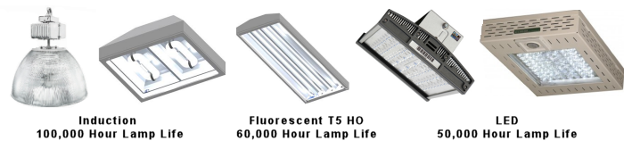 induction, T5 fluorescent and LED lighting for Ice rinks and arenas