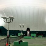 LED Indirect tennis lighting on stands Oak Bay Tennis Bubble